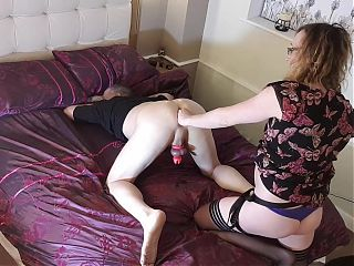 Getting pegged by Lisa whilst Im locked up in chastity