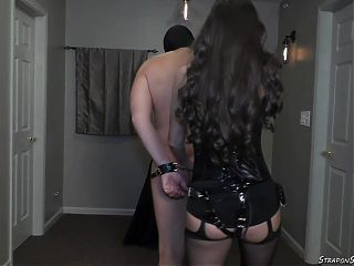 Mistress Lydia spanks with belt and strap-on pegging